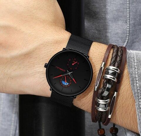 Moda dos Homens Relógios de Luxo da Marca Relógio de Quartzo dos Homens Esporte à Prova Relógio Masculino Crrju Superior Casual Fino Malha Aço Dwaterproof Água