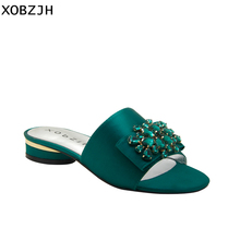 Italian Brand Designer Flat sandals Women Shoes Luxury 2019 Summer Silk Green Party Open Toe Rhinestone woman Slippers