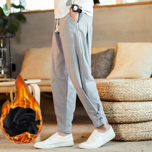 110 KG Soft Solid Gray Joggers Men Sweatpants Chinese Style Mens Trousers Large Size Thick Harem For Big Man Flare Pants 3