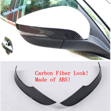 Lapetus Auto Styling Door Rearview Mirror Lower Deflector Overlay Strip Cover Trim Fit For Ford Focus 2019 2020 ABS Carbon Fiber