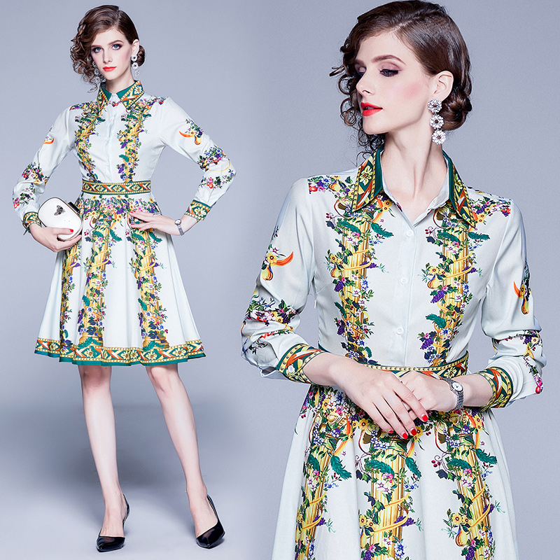 2019 European early autumn new color contrast printed long sleeved dress in Dresses from Women 39 s Clothing