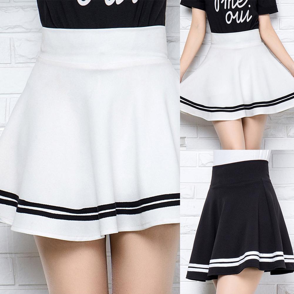Women Girls SEXY Pleated A-line Mini Skirts Black White Elastic High Waist Korean Striped Sweetweart Female Dance Skirt S-XL