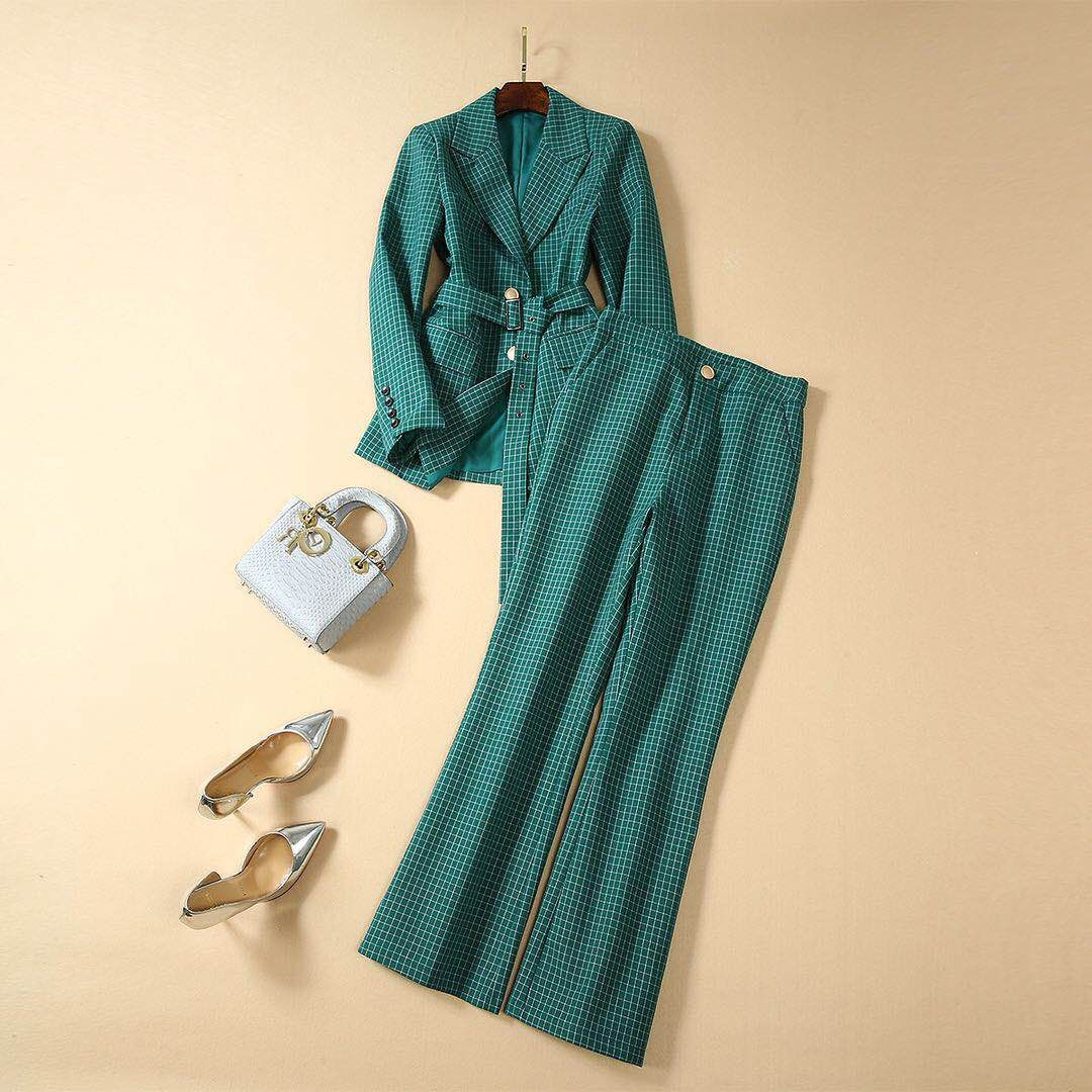 Autumn 2019 Green Chequered Suit Belt Professional Coat Trousers Two-piece Suit Sashes Turn-down Collar Women 2 Piece Sets