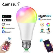 Lâmpada regulável de led e27, bluetooth 4.0, controle inteligente, wifi, app, rgb + w rgb + ww 15w, AC85-265V cores iluminação doméstica de temporização alterável