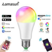 Приглушаемая светодиодная смарт лампа E27 с Bluetooth 4,0, Wi Fi, управление через приложение, RGB + W RGB + WW, 15 Вт, бытовое освещение с изменяемым цветом и таймером