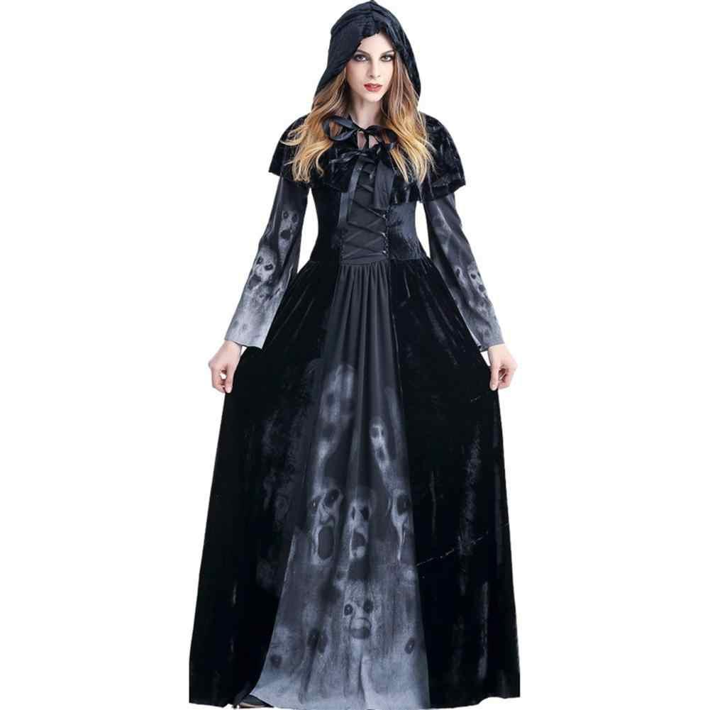 Взрослый женский костюм ведьмы на Хэллоуин Косплей костюмы толстовки платье Женский вампир Длинные Платья вечерние костюмы Пасхальная одежда