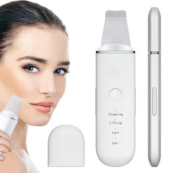 Professional Ultrasonic Facial Skin Scrubber Cleaner Face Lifting Peeling Deep Cleaning Beauty Device + Facial Steamer Sprayer pores steam sprayer deep cleaning facial beauty steaming device face steamer machine face thermal sprayer skin care tool tslm2