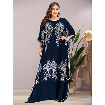 נשים מקרית עטלף שרוול הדפסת מקסי שמלה בתוספת גודל האפריקאי דאשיקי Loose העבאיה קפטן הרמדאן חלוק מרוקאי שמלת VKDR2120