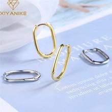 XIYANIKE 925 Sterling Silver Ear Buckle Female Korean Fashion Golden Geometric Oval Ear Buckle Simple Temperament Ear Jewelry