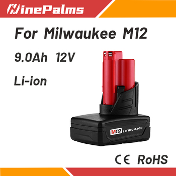 NinePalms Lithium-ion Rechargeable battery 12V 9Ah is suitable for Milwaukee M12 48-11-2401 48-11-2440 48-11-2402 Power tool image