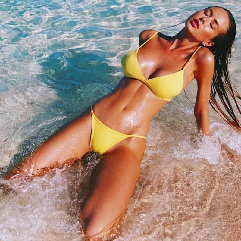 H00751f04837c4cae82c7500f1a0d9558t Minimalism Le Sexy High Cut Bikinis Women Micro Thong Swimsuit Solid Swimwear Bathing Summer Brazilian Beachwear Biquini
