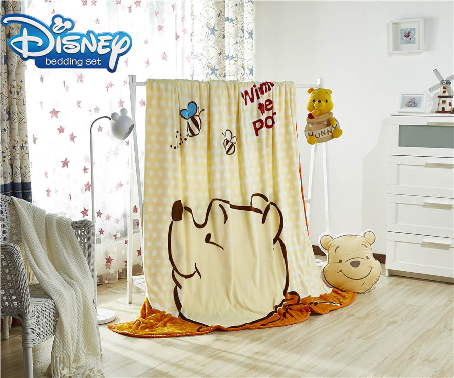Winnie the Pooh printing blanket Famous Disney Cartoon Character beddings queen size 200*230cm sheets girl boy bedroon linens