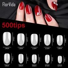 FlorVida 500tips/bag Short Oval Shape False Nail Tips 10 Size Full Clear White Fake Nails