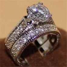 FDLK-Conjunto de anillos de boda de compromiso, sortija de boda de aleación de cristal blanco de lujo refinado 2 en 1, joyería de regalo, tamaño 5, 6, 7, 8, 9, 10, 11, 12