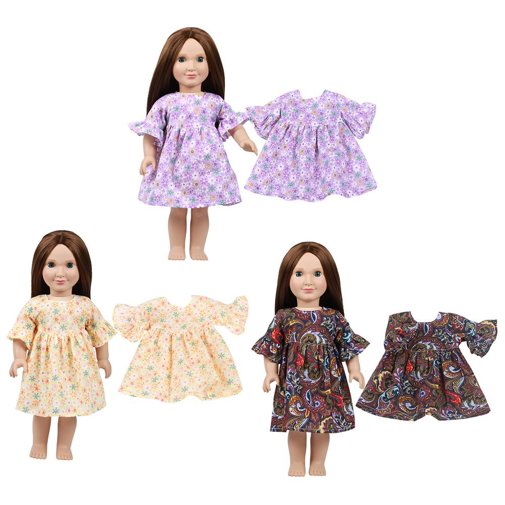 Handmade Purple Flower Bow Clothes Dress For 18inch Doll Fast