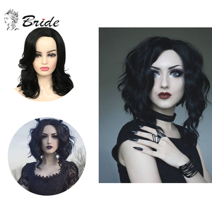 Perucas de cabelo curto perucas de bob onda sintética natural preto & marrom peruca cheia com peruca chapéu para cosplay diário festa cabelo