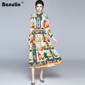 2020 Spring Autumn Runway Fruits Vegetables Pleated Dress Women Bow Neck Long Sleeve Lace Pearl Buttons Floral Print Long Dress spring autumn women chiffon print dress long sleeve vintage bow collar floral dresses female causal thick ruffles pleated dress