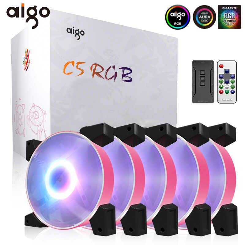 Aigo Nieuwe Rgb Fan 120Mm Led Pc Computer Case Fans Argb Rustig Afstandsbediening 5V 3pin Aura Sync Computer cpu Cooler Cooling Passen Case Fan
