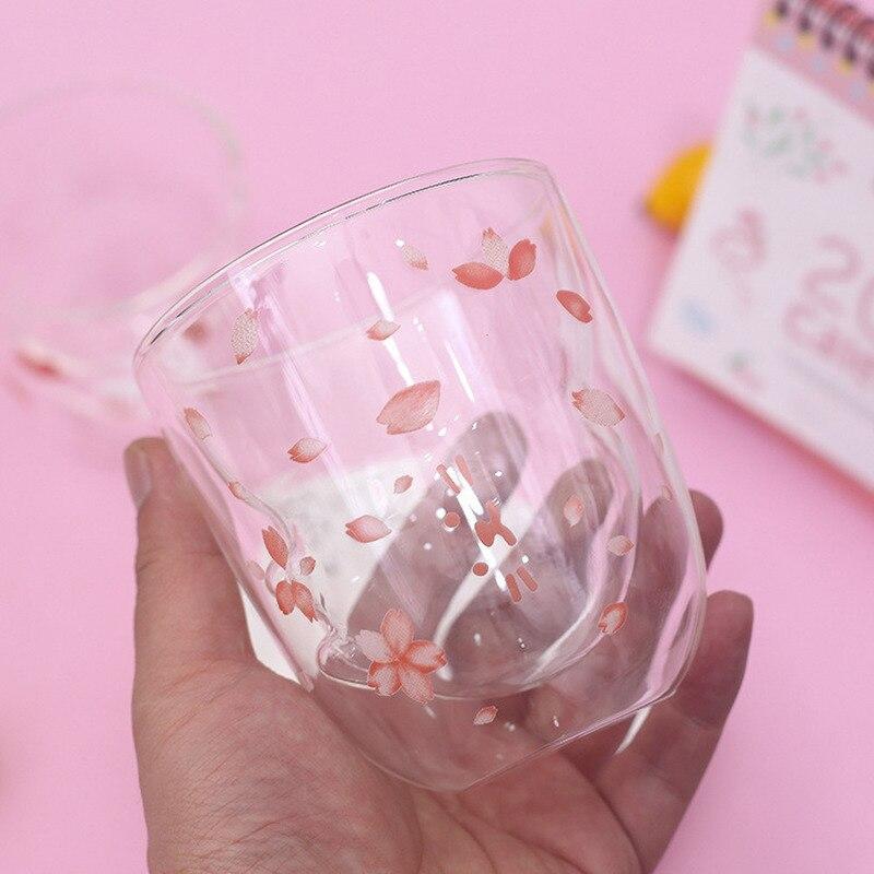 Sakura rabbit double-layered glass creative cute cup High borosilicate material