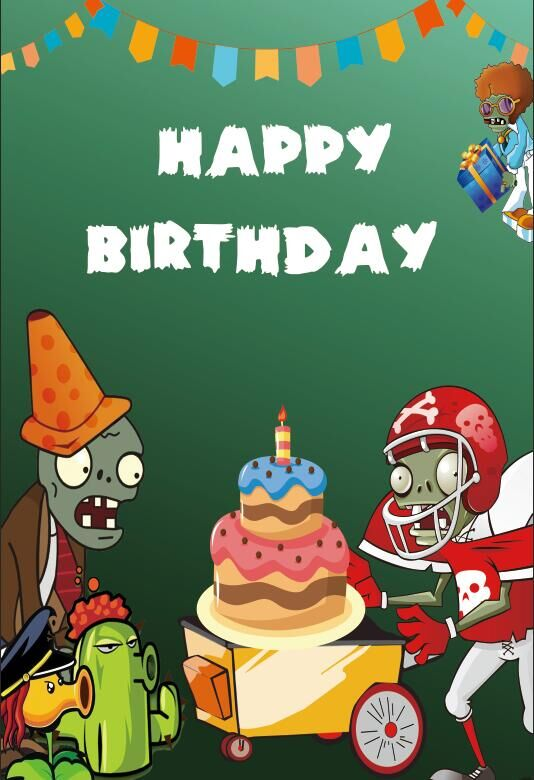Outstanding 5X7Ft Plants Vs Zombies Birthday Cake Party Custom Photo Studio Personalised Birthday Cards Veneteletsinfo