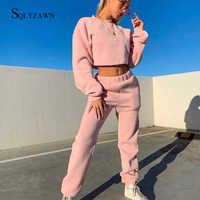 Женский хлопковый уличная одежда, однотонный милый комплект из двух предметов, осенний свитер кроп-топ, штаны для бега, модный сексуальный к...