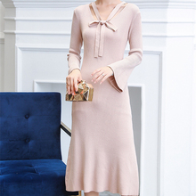 Korean Sweater Dress Women Knitted Elegant Woman Dresses Plus Size Fashion Autumn High Waist Stretch