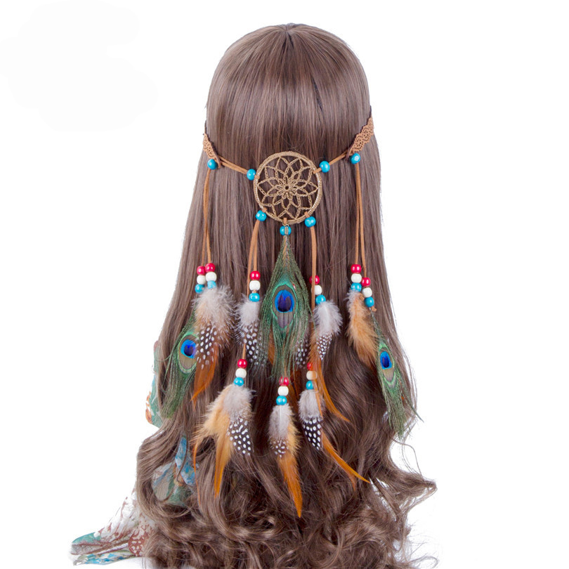 Haimeikang Bohemian Hippie Headband Dream Catcher Feather Headdress Fashion Peacock Feather Headbands Hair Accessories