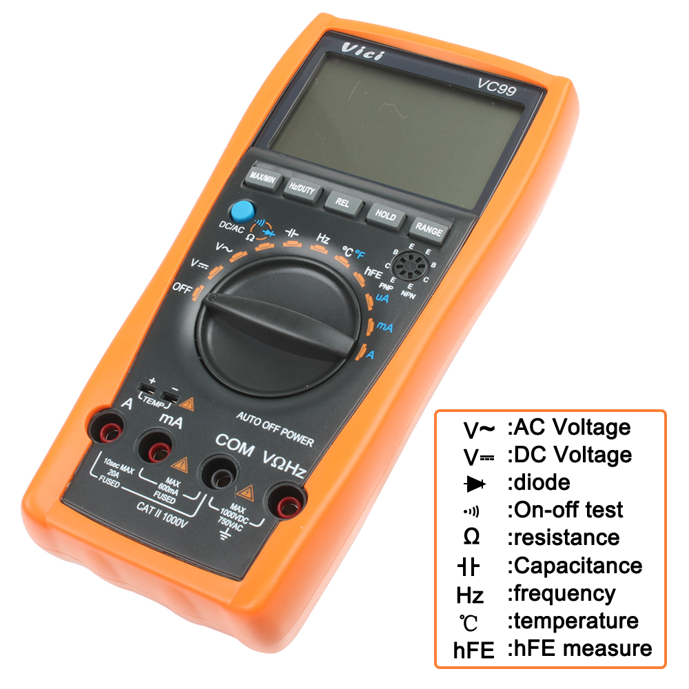 Original Vichy VC99 3 6/7 Auto Range Digital Multimeter Have Bag Hot Sale Better  17B+ Meter Yellow With Two Probes