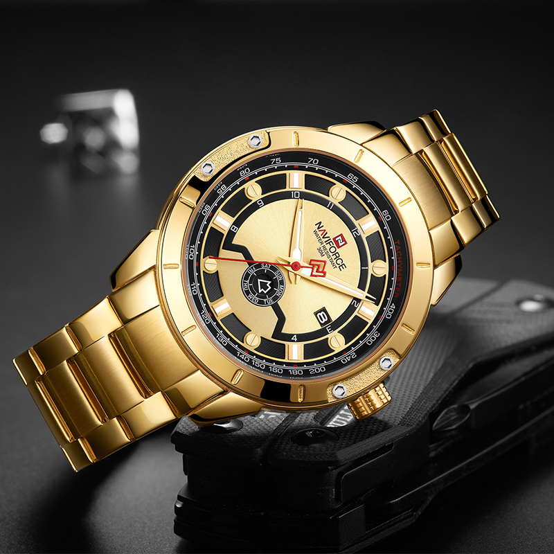 Image 4 - Luxury Brand NAVIFORCE Men Steel Strap Gold Watch Mens Quartz Clock Date Sport Waterproof Wrist Watches Relogio Masculino 2019-in Quartz Watches from Watches