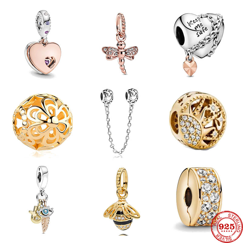2020 new gold rose gold Dragonfly Chained Heart gold clip bee diy bead Fit Original Pandora Charms silver 925 Bracelet Jewelry(China)