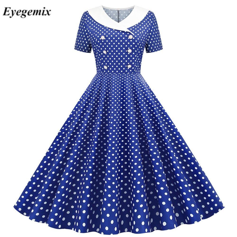Синий в горошек для девочек в винтажном стиле; Модельные туфли для женщин 2021 летнее платье в ретро-стиле 50-60х годов, в стиле пин-ап вечернее п...