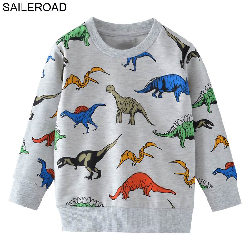 SAILEROAD Cartoon Dinosaur Boys Sweatshirts For Little Kids Hoodies Clothes 2-7Years Autumn Children Long Sleeve Shirts Cotton