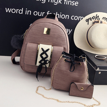 3Pcs/Set PU Leather Women Backpack Girls Solid Multi Purpose Lady Composite Bags Teenage Girls Schoolbag Travel Bag Mochila 5556 цена