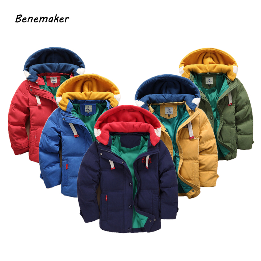 Benemaker Children Thick Winter Jackets For Girls Boys Clothing 4-12T   Parka   Warm Coats Overalls Hooded Baby Kids Outerwear JH049