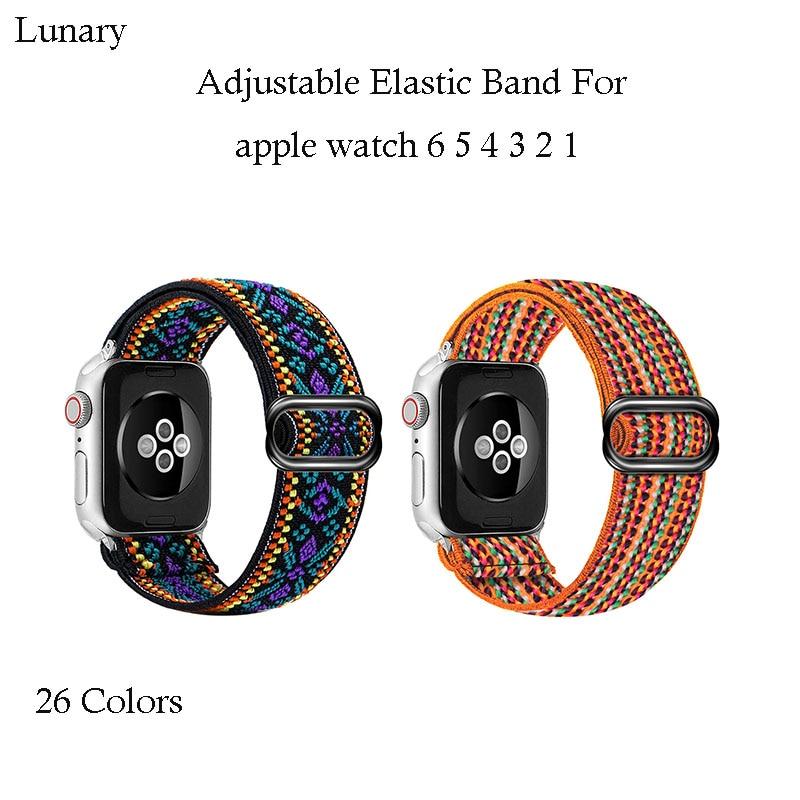 Böhmen Elastische Nylon Schleife Band Für Apple Uhr 6 38mm 40mm 42mm 44mm Uhr Einstellbare Elastische strap Für Iwatch Serie 6 5 4 3