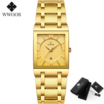 WWOOR Luxury Golden Wrist Watch Men Rectangular Watch Top Brand Mens Waterproof Stainless Steel Classic Quartz Watches Male 8858 fashion quartz watch men watches top brand luxury male clock stainless steel watches mens wrist watch hodinky relogio masculino