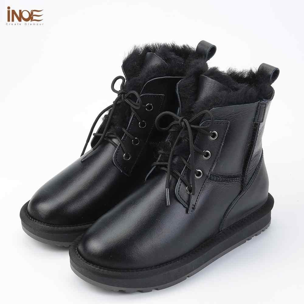 INOE koyun derisi deri Shearling yün kürk astarlı kadın ayak bileği kışlık botlar kadınlar için rahat kısa kar botları sıcak su geçirmez siyah