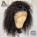 Парики из натуральных волос на кружевной основе с глубокими вьющимися волосами 13x4 Фронтальные парики на шнурке с детскими волосами