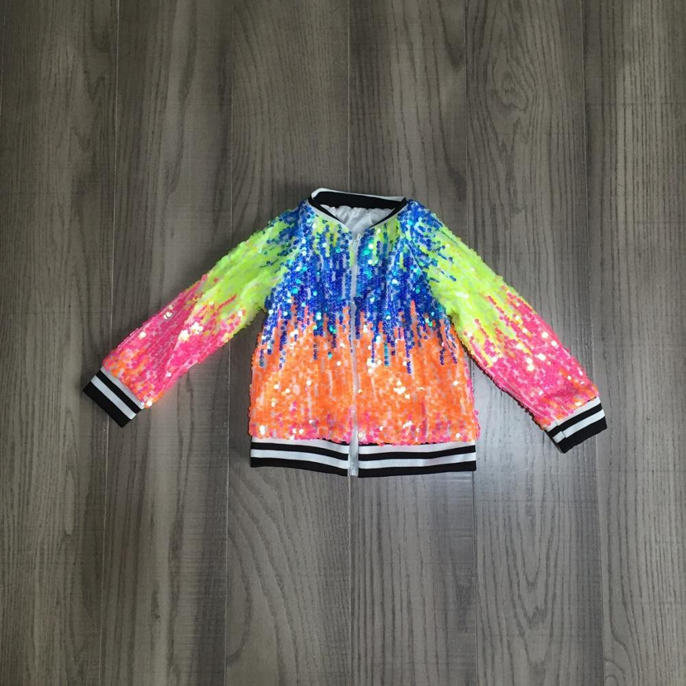 Girlymax Fall/winter outfits baby girls violet hot pink tie dyed sequins zipper coat cotton clothes children top cotton boutique 4