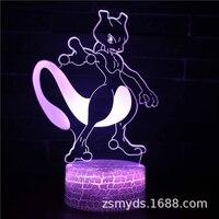 TAKARA TOMY-Lámpara LED de mesa 3D de Pokemon Mewtwo, regalo de cumpleaños creativo, decoración de cabecera, luz nocturna, regalos de navidad