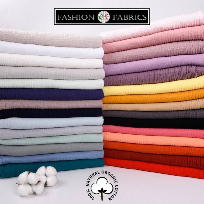 DIY Double Gauze Fabric For Baby 100% Cotton Fabric Cotton Muslin Double Fabric Organic Cotton Muslin  Natural Fabrics
