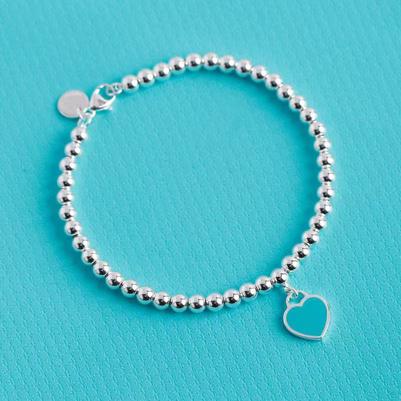 1:1 S925 sterling silver ladies classic enamel heart-shaped tag 4m bead bracelet European American popular ladies holiday gifts