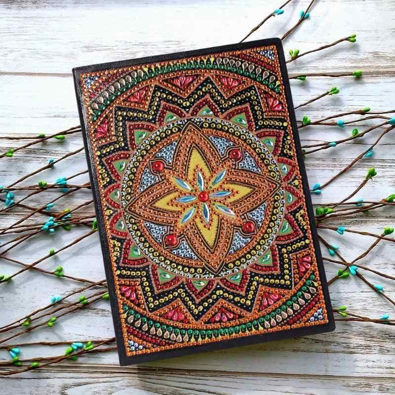Diy mandala especial em forma de pintura diamante 50 páginas sketchbook a5 caderno artesanal pintura diamante caderno valentine presente