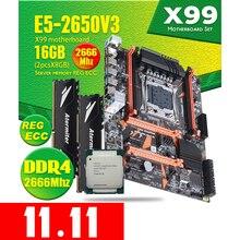 Atermiter X99 D4 DDR4 Moederbord Set Met Xeon E5 2650 V3 LGA2011 3 Cpu 2Pcs X 8Gb = 16gb 2666Mhz DDR4 Reg Ecc Ram Geheugen