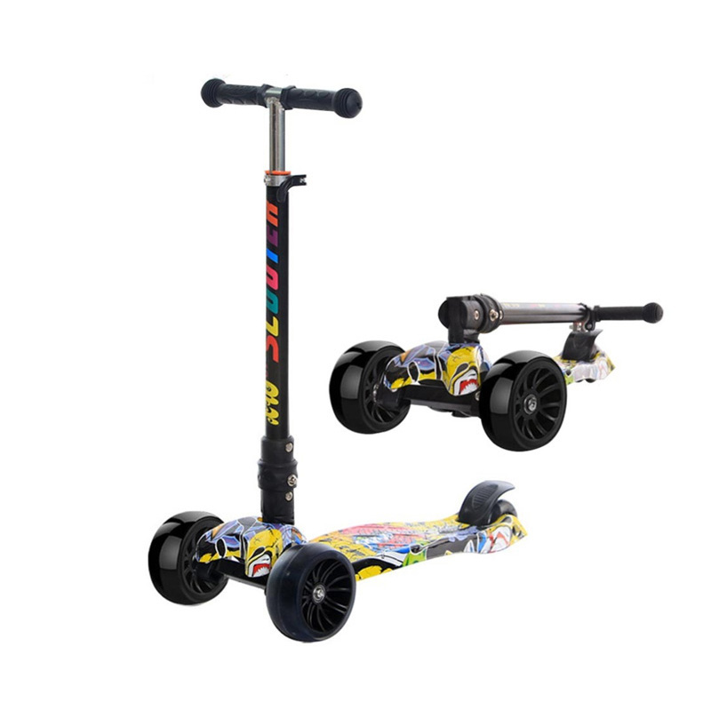 YEMELYA nouveau Scooter PU trois roues lueur pliant léger en métal coup de pied Scooters équitation jouets pour garçons et filles