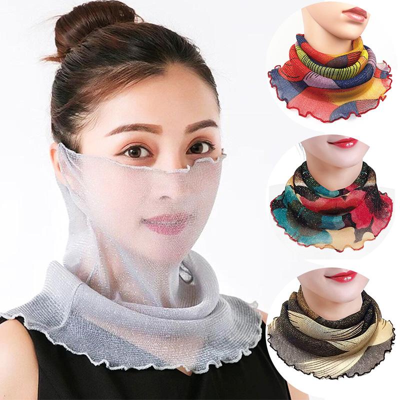Women Face Cover Masks Fashion Bright Silk Bib Neck Cover Sun Protection Hanging Ear Veil Summer Scarf Breathable Mesh Headband