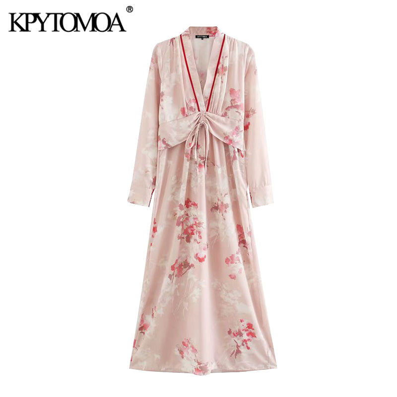 KPYTOMOA Women 2020 Chic Fashion Floral Print With Bow Maxi Dress Vintage Adjustable Waist Side Zipper Female Dresses Vestidos