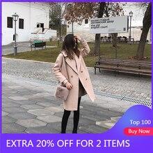 Mishow 2019 الخريف والشتاء معطف الصوف الإناث منتصف طويلة جديدة مزاجه الكورية المرأة شعبية ملابس خارجية معطف الصوف MX18D9662