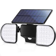 Luces solares para exteriores, 56 luces LED de colector Solar con Sensor de movimiento, reflectores dobles con cabeza de rotación, luces de movimiento Solar ajustables de 360 °