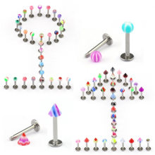 PUNK Labret Lip Ring Multicolor Alloy คิ้วลิ้น Tragus ต่างหู Ball SPIKE Helix บาร์ Body Piercing (China)